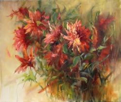 Field Of Dahlia's by Gloria Perkins