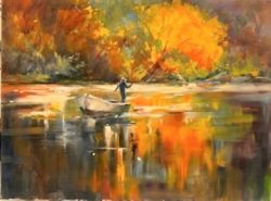 Man On Boat With Fall Colored Trees by Gloria Perkins