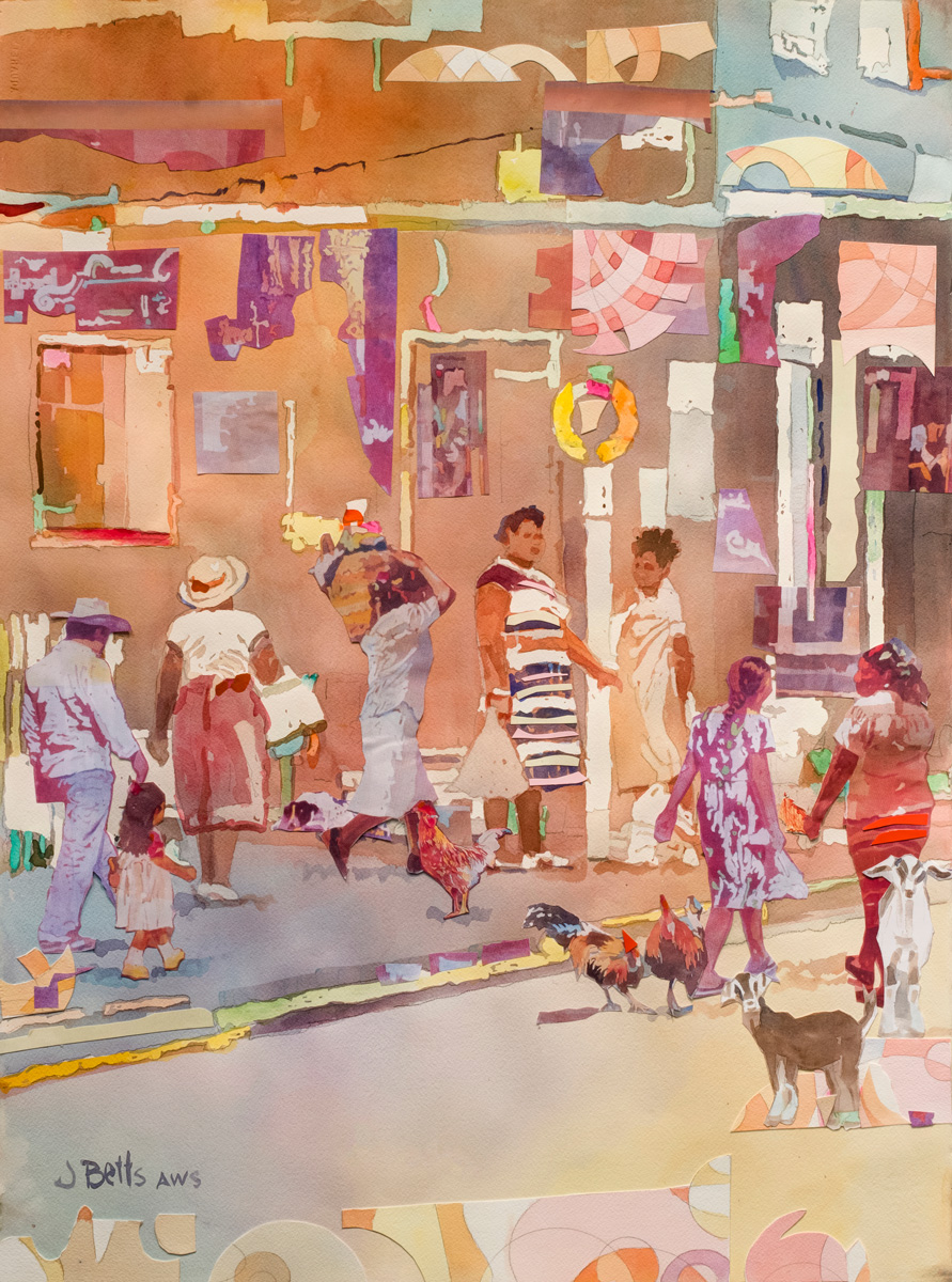 painting by Judi Betts titled Mexican Morning Market