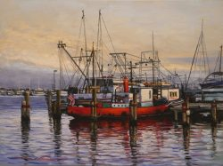 Red Shrimp Boat In Evening Light by Alan Flattmann